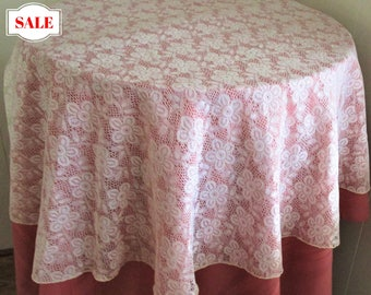 Vintage Lace Tablecloth Overlay Off White Flower Repeat Pattern, Shabby Chic Lace Tablecloth, Vintage Lace Linens, Lace Tablecloth