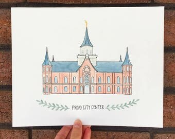 Custom Outlined LDS Temple Watercolor
