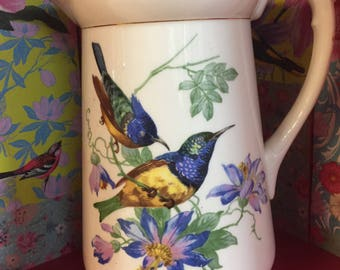 Vintage Jug with birds and flowers