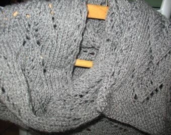 Openwork stitch mixed gray scarf