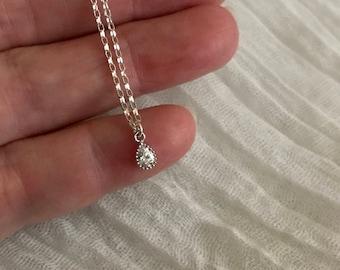 Tiny cz Teardrop Necklace-Silver Teardrop Necklace-CZ Necklace-Sterling Silver Chain-Dainty Necklace-CZ Teardrop Silver Necklace-CZ Charm