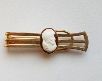 Gold Tone Tie Bar with Roman Soldier Cameo
