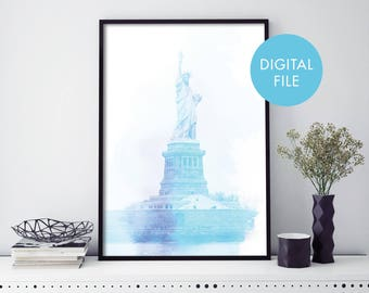 Statue of Liberty, New York Watercolour Print Wall Art | Print At Home | Digital Download File