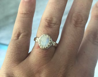 On sale** Rainbow Moonstone sterling silver crown bezel ring. Adjustable size