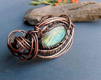 Labradorite copper wrap bracelet, Wire wrapped jewelry, Copper cuff bracelet womens, Labradorite wire wrap, Copper wire jewelry, Gemstone