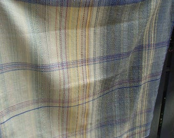 Handwoven BABY BLANKET, FABRIC  Wrap Scrap, Mercerized Cotton, L 75 cm W 73 cm, Daffodil, Blues and Zingers, Mixed Twills, Mountains Warp