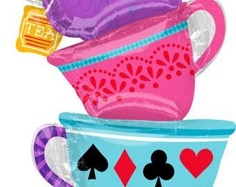 """33"""" Alice in Wonderland Balloon, Mad hatters tea Party balloon"""