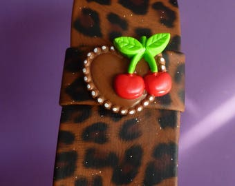 Headband bow leopard with heart cookie and icing Fimo polymer clay