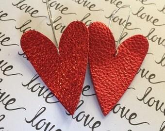 Heart earrings, large red heart earrings, Valentine earrings, large leather heart earrings