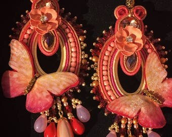 Soutache, crystals and organza earrings