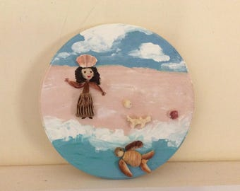 Hawaiian Folk Art From Kauai, Hula Girl on Beach with her Honu in the Surf