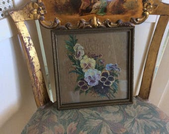 Antique Victorian Oil Painting on Silk, Pansies, Wood Frame with Glass, Great Condition