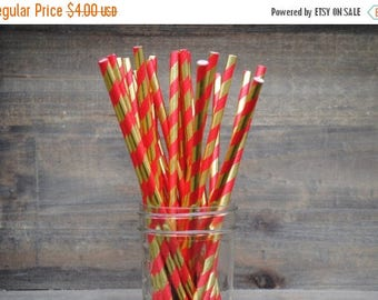 50% OFF 25 Red and Gold Foil Stripe Paper Party Straws | birthday | baby shower | retirement | corporate | holiday | christmas | party | dec