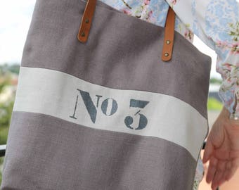 Tote bag linen taupe/linen tote/shopping tote/hand/tote bag purse