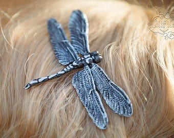 Dragonfly Hair Clip in silver 11x6, 5 cm