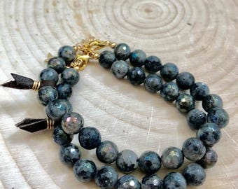 Labradorite and Gold Adjustable Beaded Bracelet #738