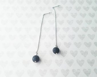 SALE-Long lava bead diffuser earrings