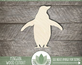 Wood Penguin Shape, Unfinished Wood Penguin Laser Cut Shape, DIY Craft Supply, Many Size Options