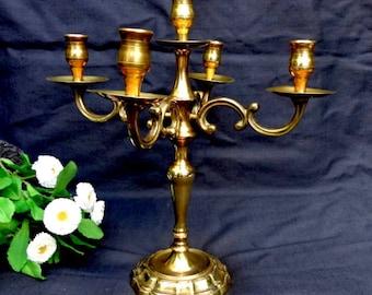 Brass Candelabra - Brass Candle Holder /Antique Candelabra / Wedding Candelabra /Christmas Candle holder/ Five Armed Candlestick Holder