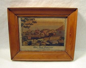 Antique Scenic Embroidery Wood Framed DAS BAD DOBERAN Signed Dense Needlework Needlepoint