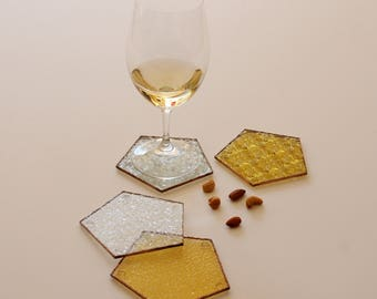Vintage yellow gold geometric drinks coaster, set of 4