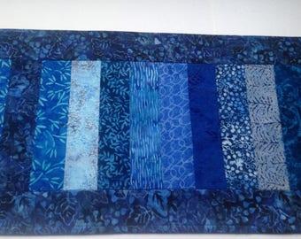 Blue batik table runner