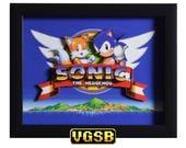 Sonic the Hedgehog 2 Shadow Box - Title Screen - GENESIS - Sega Genesis - 3D Shadow Box Glass Frame - 12x10 - Christmas Gift - 3D Game Art