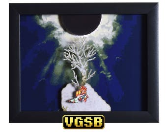 Chrono Trigger Shadowbox - Death Peak - SNES - Super Nintendo - 3D Shadow Box Glass Frame - 12x10 - Anniversary Gift - Geek Couples