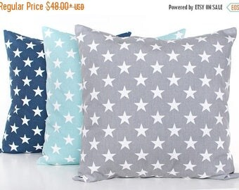 SALE ENDS SOON Star Pillow Covers, Set of 3, Gray Stars Throw Pillow, Star Nursery Pillow, Baby Pillow, Patriotic Stars Pillow, Kids Room De