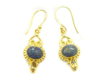 Stunning Lapis Lazuli Or Citrine 925 Sterling Silver Gold Plated Dangle Earrings