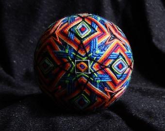 "Temari Ball ""Otherside"" Embroidery Handmade Home Decor Psychedelic Art"
