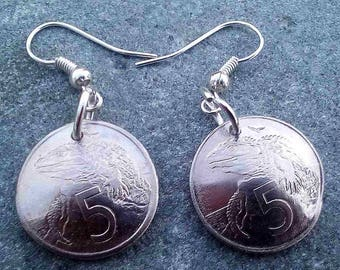 Domed New Zealand five cent Earrings