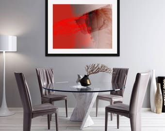 Vibrant Red Abstract Expressionist Style Giclée Print. Modern Wall Prints. Art Gallery. Limited Edition Prints. Signed Prints. Office Decor