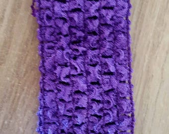 Headband dark purple soft and fine crochet for baby and girls up to 6 years, tutu, dresses, hair accessory