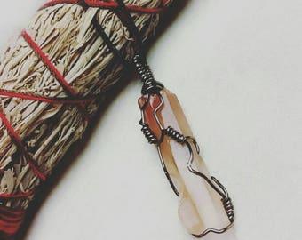 Red Phantom Quartz Wire Wrapped Necklace