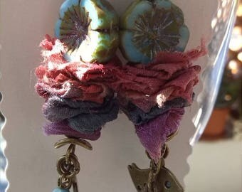 """Nature"" bird, flower and sari silk earrings pendants"