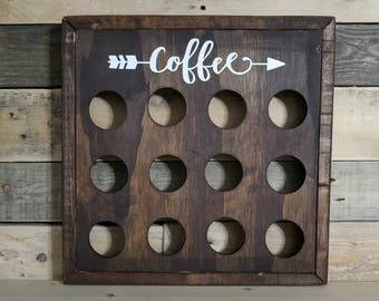 Rustic Wood Coffee Pod Storage | K Cup Holder | Coffee Station | Farmhouse Style