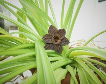 wooden flower brooch