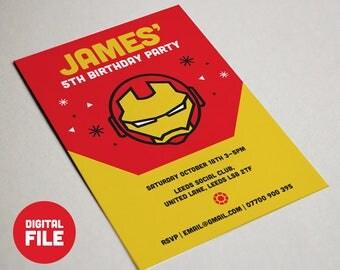 Printable Iron Man Invitation - Kids/Boys Superhero Party Invites