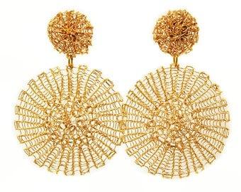 Gold circle earrings, big, large, statement, wire crochet earrings, jewelry, geometric earrings, bohemian, chandelier
