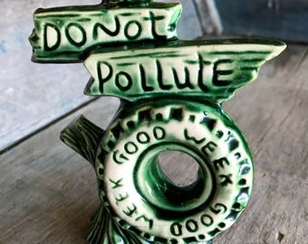 Do Not Pollute Tire Aquarium Ornament, 1960s Vintage Fish Tank Decoration