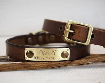 Dog Collar, Handmade Collar, Leather Collar, Dog Id Tag, Customized Leather Collar, Rustic leather collar, Rustic brown leather, Dog gift.