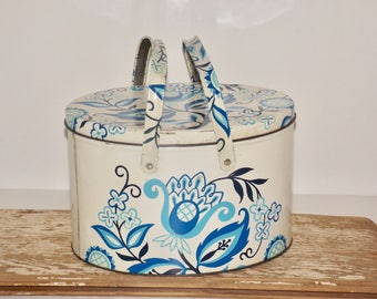 Blue white metal picnic basket with handles,flowers,tin basket,large tin can,oval tin,floral canister,PA dutch,folk art,storage tin