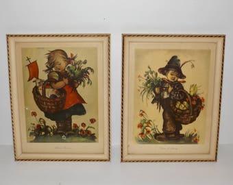 Framed hummel prints,blessed burden,voices of spring,10x13,set of 2,glass front,wood frame,children wall prints,nursery decor,childrens room
