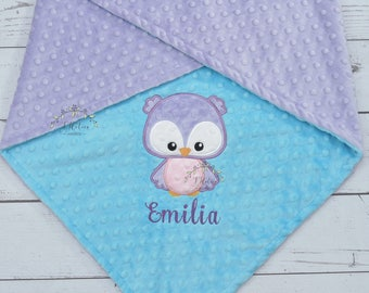 Personalized Baby Blanket-Owl Baby blanket-Personalized Owl Minky blanket-Minky Owl Blanket-Minky baby blanket-Baby Girl Boy blanket Owl