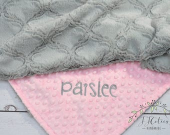 Personalized Baby girl blanket-Personalized pink and gray crib blanket- Pink gray baby blanket-gray minky blanket-pink gray blanket minky