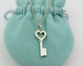 Authentic Tiffany & Co Sterling Silver Heart Key Pendant Necklace