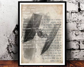Tie Fighter (Star Wars) A4 mixed media watercolour print, 220gsm canvas textured paper *FREE UK P&P*