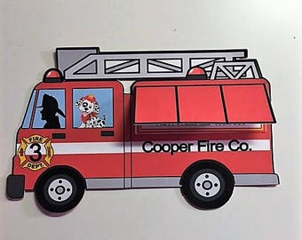 Fire Truck, fireman Invitation with lift up flap/ Set of 12 invites and Envelopes