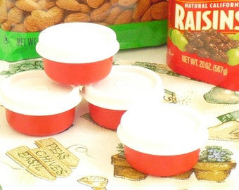 4 Vintage Red Tupperware Snack Size 2 Oz Containers, White Fitted Lids, Single Serving Portion Lunch Sides, Mini Snacks, Midget Kiddie Cups